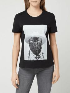 Czarna bluzka Vero Moda z nadrukiem z krótkim rękawem w młodzieżowym stylu