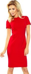 Czerwona sukienka NUMOCO z okrągłym dekoltem dopasowana z krótkim rękawem