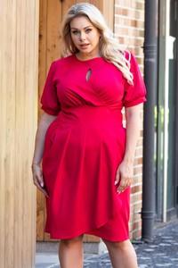 Sukienka KARKO z tkaniny z okrągłym dekoltem z długim rękawem