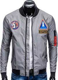 Ombre clothing kurtka męska przejściowa bomberka c351 - szara