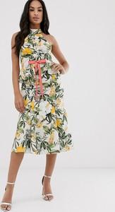 Sukienka Asos Design bez rękawów midi z dekoltem halter