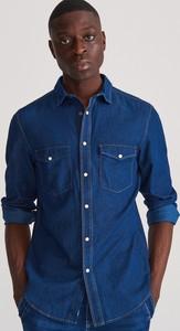 Granatowa koszula Reserved z jeansu