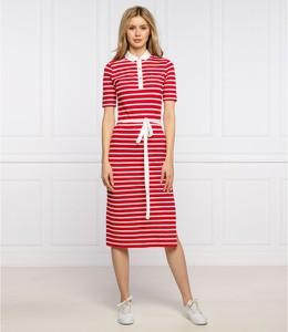 Czerwona sukienka Tommy Hilfiger w stylu casual midi