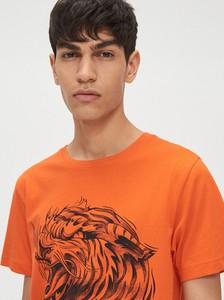 Pomarańczowy t-shirt Cropp