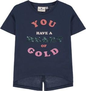 Granatowa koszulka dziecięca Tom Tailor z bawełny