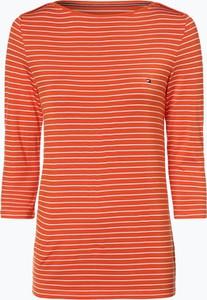 Pomarańczowy t-shirt Tommy Hilfiger z okrągłym dekoltem