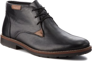 Czarne buty zimowe Rieker w stylu casual ze skóry
