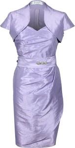 Fioletowa sukienka Fokus z krótkim rękawem midi asymetryczna