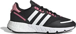 Czarne buty sportowe Adidas z płaską podeszwą ze skóry sznurowane