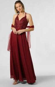Czerwona sukienka Luxuar Fashion z dekoltem w kształcie litery v maxi