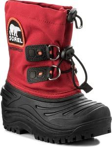 Bordowe buty dziecięce zimowe sorel