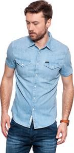 Niebieska koszula Lee z krótkim rękawem