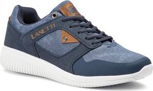 Niebieskie buty sportowe Lanetti sznurowane
