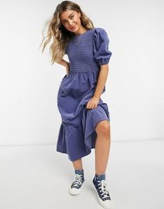 Niebieska sukienka Asos midi ze sztruksu