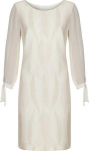 Sukienka Poza z okrągłym dekoltem mini z długim rękawem