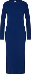 Niebieska sukienka Boss z długim rękawem w stylu casual