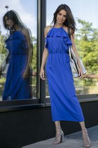 Niebieska sukienka Fobya maxi z dekoltem halter