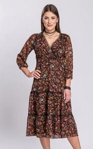 Sukienka Semper w stylu boho z dekoltem w kształcie litery v z długim rękawem