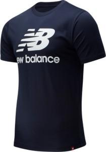 Niebieski t-shirt New Balance z bawełny z okrągłym dekoltem