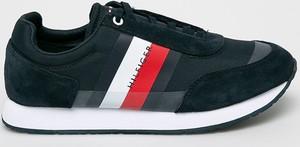 Granatowe buty sportowe Tommy Hilfiger ze skóry sznurowane