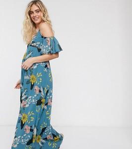 Little Mistress Maternity – Niebieska sukienka maxi w kwiatki z powiewającymi rękawami-Niebieski