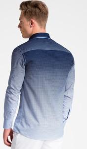Granatowa koszula Ombre_Premium z długim rękawem
