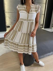 Sukienka ModnaKiecka.pl z dekoltem w kształcie litery v mini z krótkim rękawem