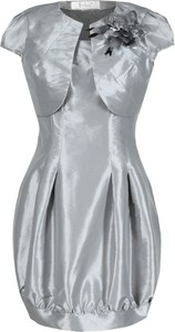 Srebrna sukienka Fokus z krótkim rękawem bombka mini
