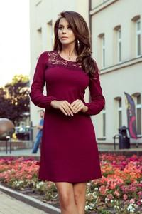 Czerwona sukienka Merg mini z okrągłym dekoltem z długim rękawem