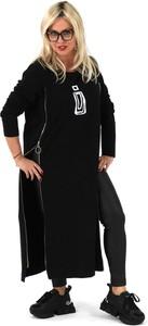 Czarna sukienka Roxana - sukienki w stylu casual z długim rękawem