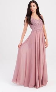 Sukienka Butik Ecru z szyfonu maxi