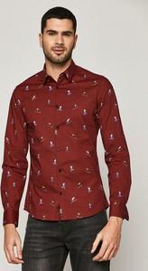 Czerwona koszula Medicine z tkaniny z klasycznym kołnierzykiem