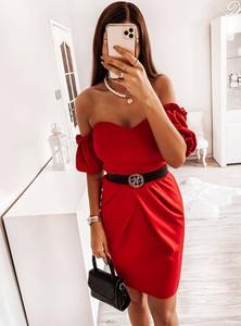 Sukienka Pakuten z długim rękawem mini z odkrytymi ramionami