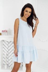 Niebieska sukienka Tcl trapezowa z bawełny