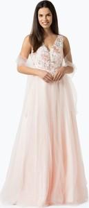 Luxuar fashion - damska sukienka wieczorowa z etolą, pomarańczowy