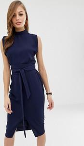 Granatowa sukienka Asos Design midi