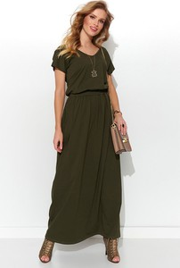 Zielona sukienka Numinou z krótkim rękawem maxi