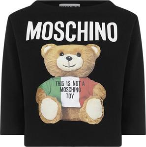 Czarny t-shirt Moschino z okrągłym dekoltem z bawełny