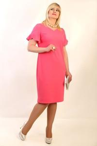 Różowa sukienka Oscar Fashion dla puszystych z dekoltem w kształcie litery v midi