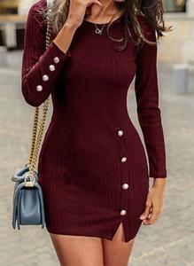 Czerwona sukienka Arilook z dresówki mini w stylu casual