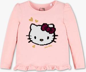 Różowa koszulka dziecięca C&A z długim rękawem z bawełny