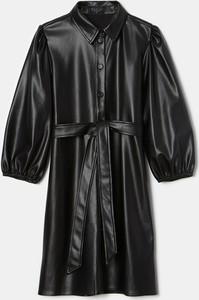 Czarna sukienka Mohito ze skóry mini z długim rękawem