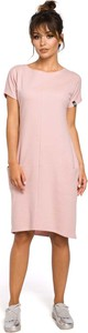 Różowa sukienka MOE midi z okrągłym dekoltem