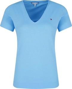 Niebieski t-shirt Tommy Hilfiger z krótkim rękawem