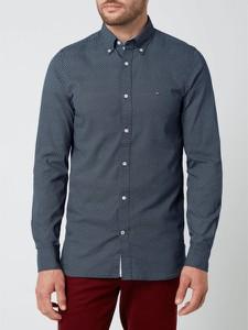 Granatowa koszula Tommy Hilfiger z bawełny z kołnierzykiem button down