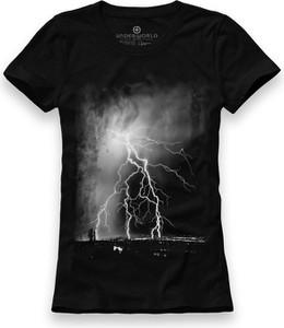Czarny t-shirt Underworld z krótkim rękawem z bawełny