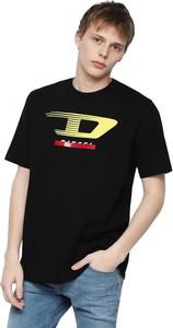 Czarny t-shirt Diesel w młodzieżowym stylu z bawełny z krótkim rękawem