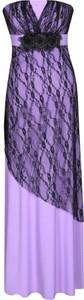 Fioletowa sukienka Fokus rozkloszowana maxi z dzianiny
