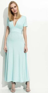 Miętowa sukienka Makadamia z krótkim rękawem