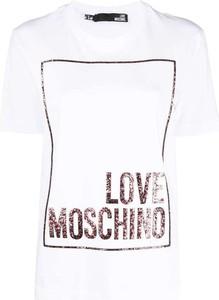 T-shirt Love Moschino z okrągłym dekoltem z dżerseju